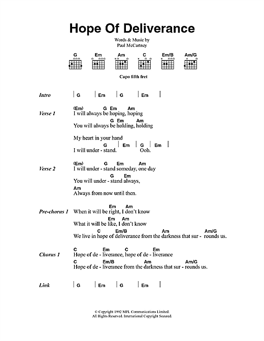 Hope Of Deliverance Sheet Music