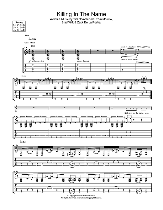 Killing In The Name Sheet Music