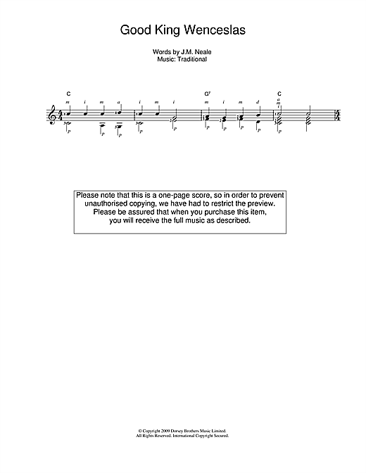 Tablature guitare Good King Wenceslas de Christmas Carol - Guitare Classique
