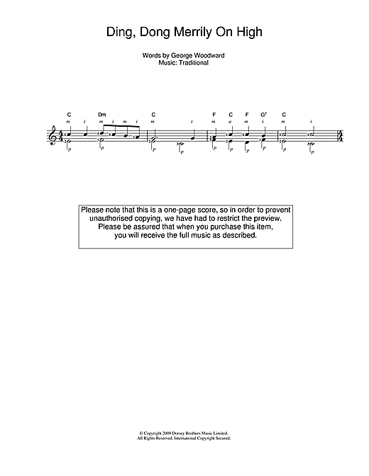 Tablature guitare Ding Dong Merrily On High de Christmas Carol - Guitare Classique