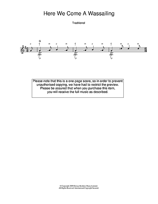 Tablature guitare Here We Come A-Wassailing de Christmas Carol - Guitare