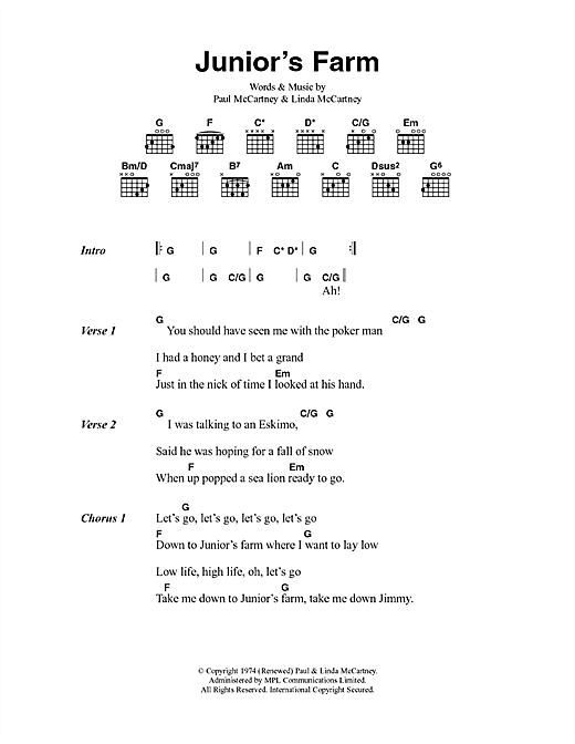 Junior's Farm (Lyrics & Chords)