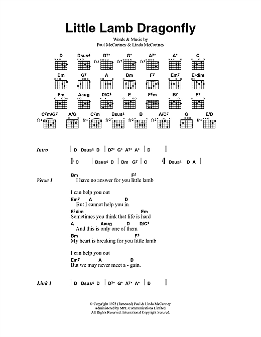 Little Lamb Dragonfly sheet music by Paul McCartney & Wings (Lyrics ...