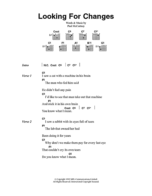 Looking For Changes Sheet Music
