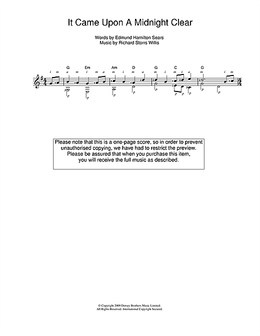 Tablature guitare It Came Upon The Midnight Clear de Traditional - Guitare Classique