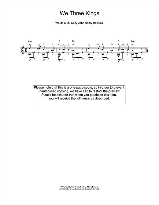 Tablature guitare We Three Kings Of Orient Are de Christmas Carol - Guitare Classique