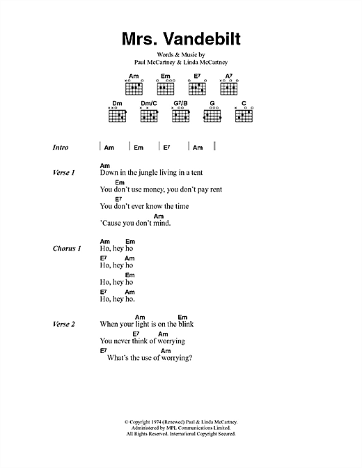 Mrs. Vandebilt (Guitar Chords/Lyrics)