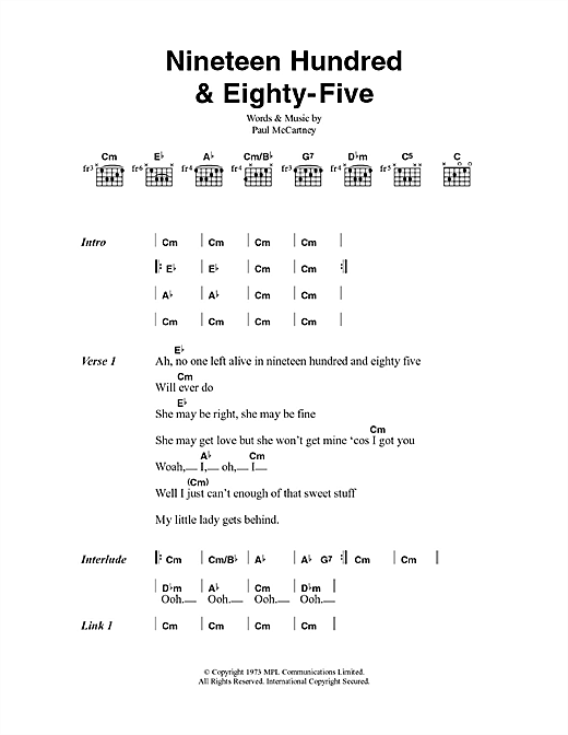 Nineteen Hundred And Eighty Five Sheet Music