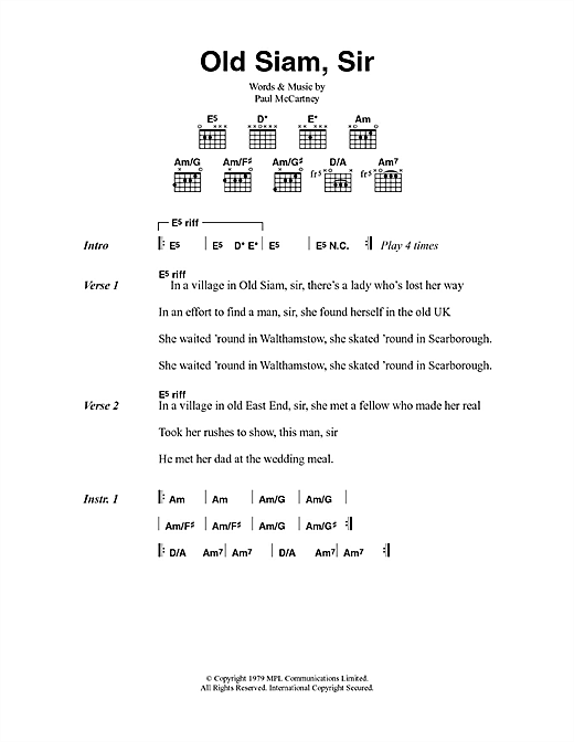 Old Siam, Sir (Guitar Chords/Lyrics)