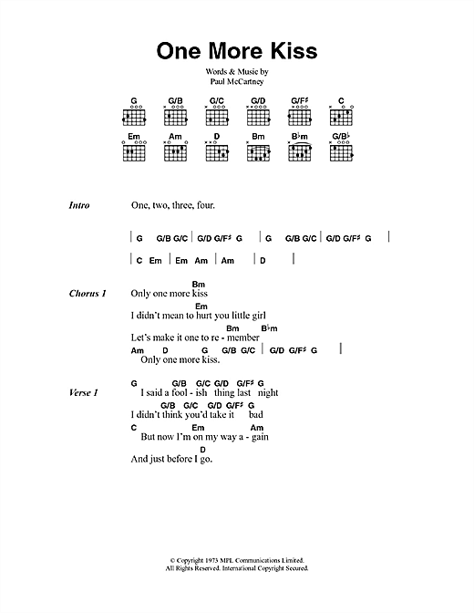 One More Kiss (Guitar Chords/Lyrics)
