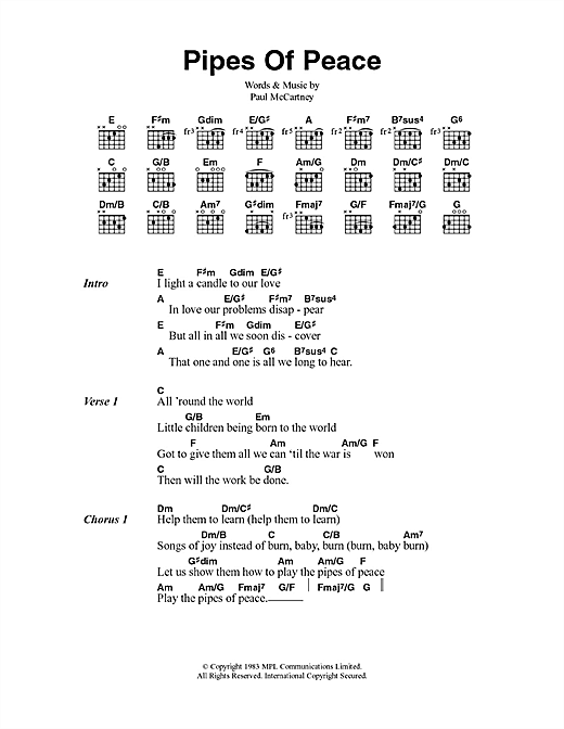 Pipes Of Peace Sheet Music