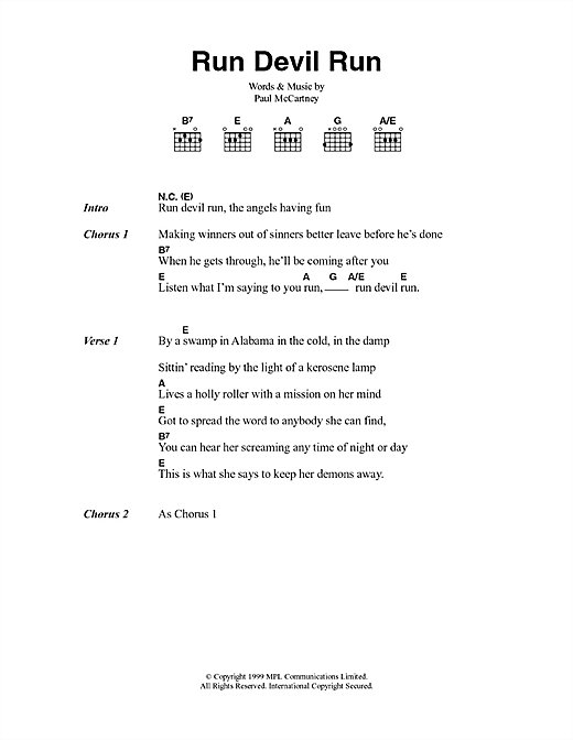 Run Devil Run (Guitar Chords/Lyrics)