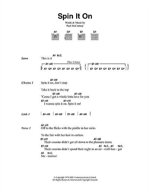 Spin It On (Guitar Chords/Lyrics)