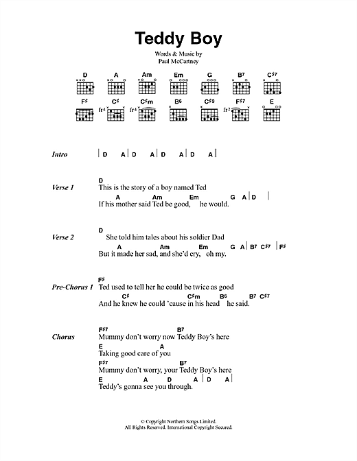 Teddy Boy (Guitar Chords/Lyrics)