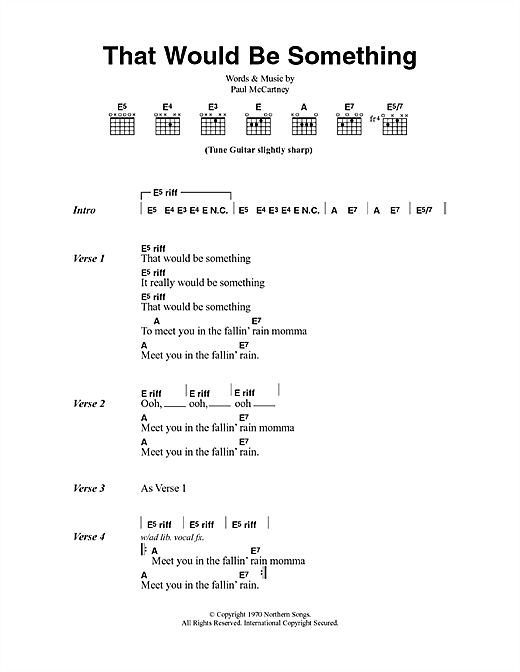 That Would Be Something (Guitar Chords/Lyrics)