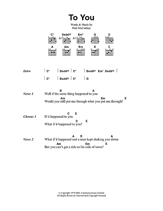 To You (Guitar Chords/Lyrics)