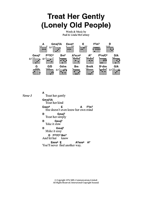 Treat Her Gently (Lonely Old People) (Guitar Chords/Lyrics)