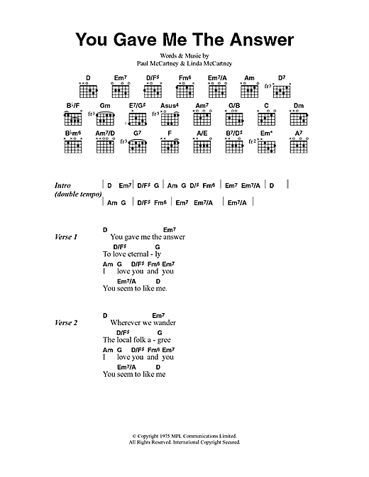 You Gave Me The Answer (Guitar Chords/Lyrics)