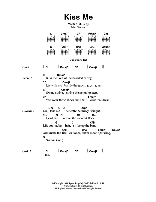 Kiss Me (Guitar Chords/Lyrics)