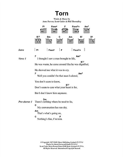 Torn sheet music by Natalie Imbruglia (Lyrics & Chords – 100347)