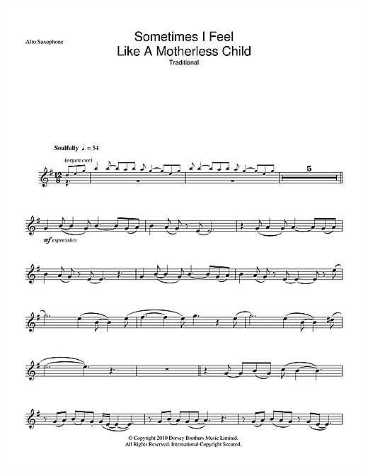 Sometimes I Feel Like A Motherless Child Sheet Music