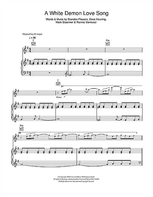 A White Demon Love Song Sheet Music