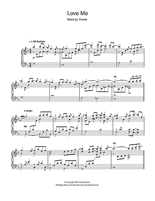 Partition piano Love Me de Yiruma - Piano Solo