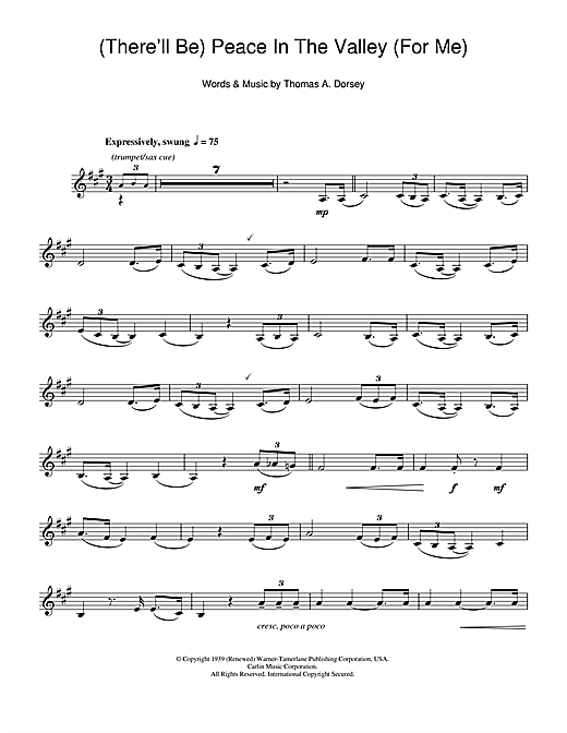 (There'll Be) Peace In The Valley (For Me) Sheet Music