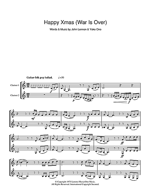 Happy Xmas (War Is Over) (Clarinet Duet)