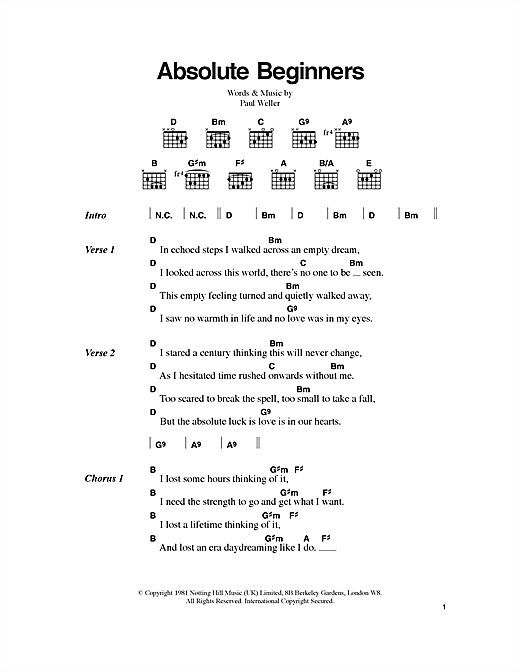 Absolute Beginners Sheet Music