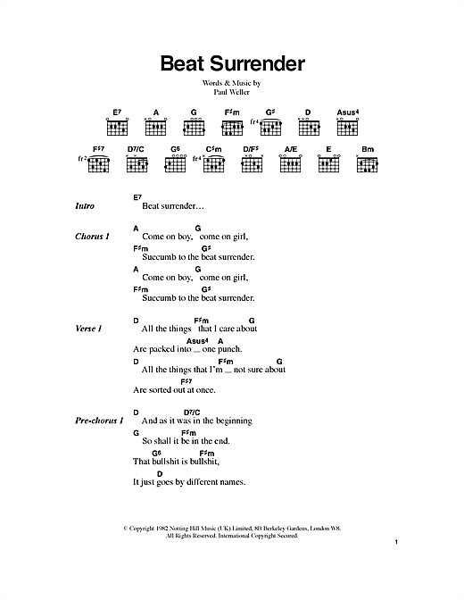 Beat Surrender Sheet Music By The Jam Lyrics Chords 100427