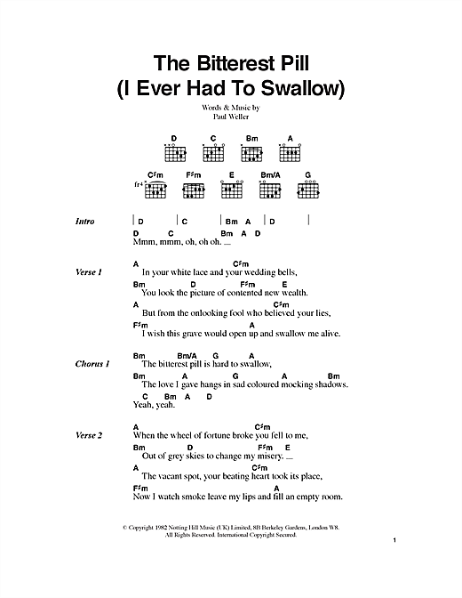 The Bitterest Pill (I Ever Had To Swallow) (Guitar Chords/Lyrics)