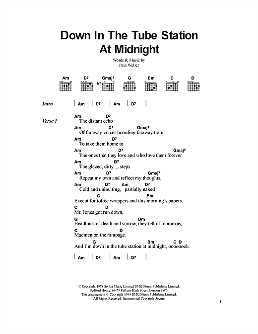 Down In The Tube Station At Midnight (Guitar Chords/Lyrics)