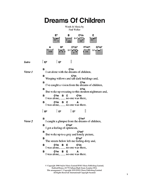Dreams Of Children (Guitar Chords/Lyrics)
