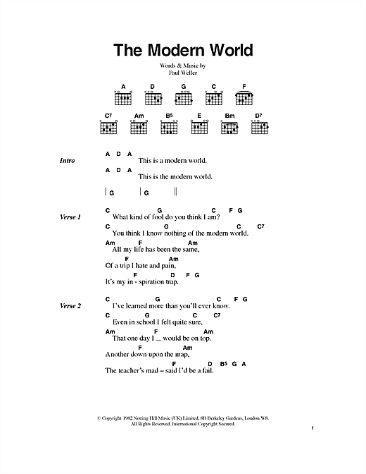 The Modern World (Guitar Chords/Lyrics)