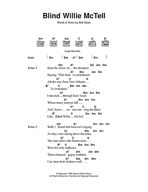 Blind Willie McTell (Guitar Chords/Lyrics)