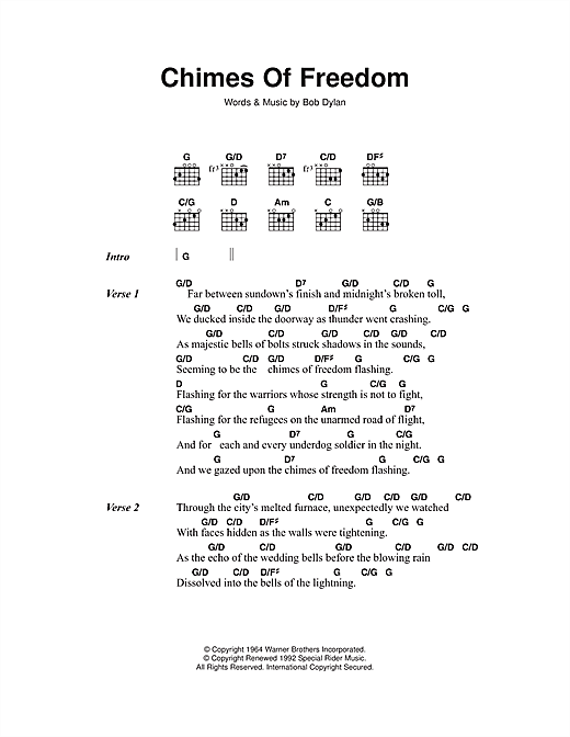 Chimes Of Freedom (Guitar Chords/Lyrics)