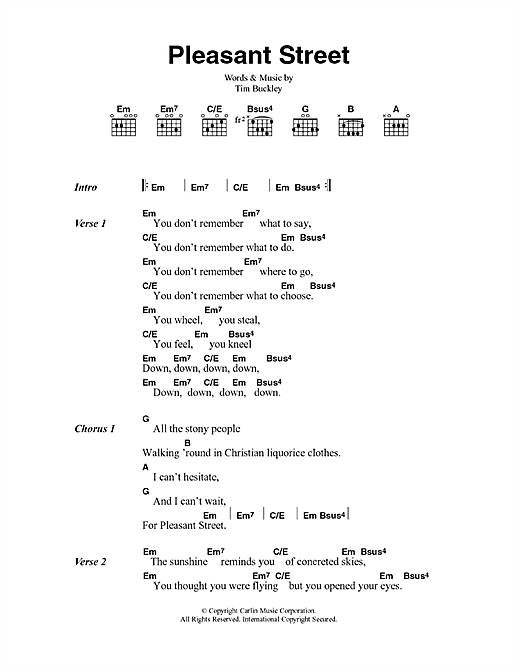 Pleasant Street (Guitar Chords/Lyrics)
