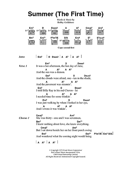 Summer (The First Time) Sheet Music