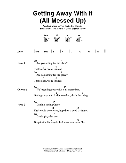 Getting Away With It (All Messed Up) Sheet Music
