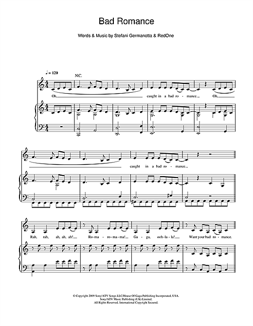Bad Romance (Piano, Vocal & Guitar (Right-Hand Melody))