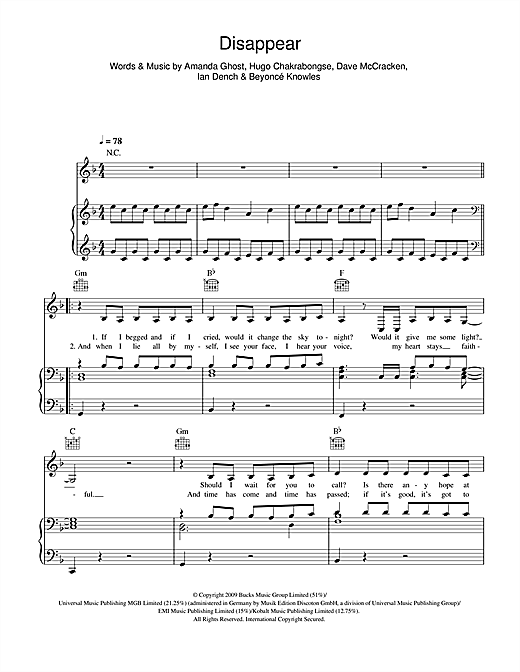 Disappear Sheet Music
