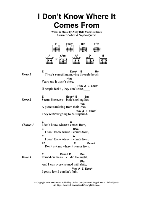 I Don't Know Where It Comes From (Lyrics & Chords)