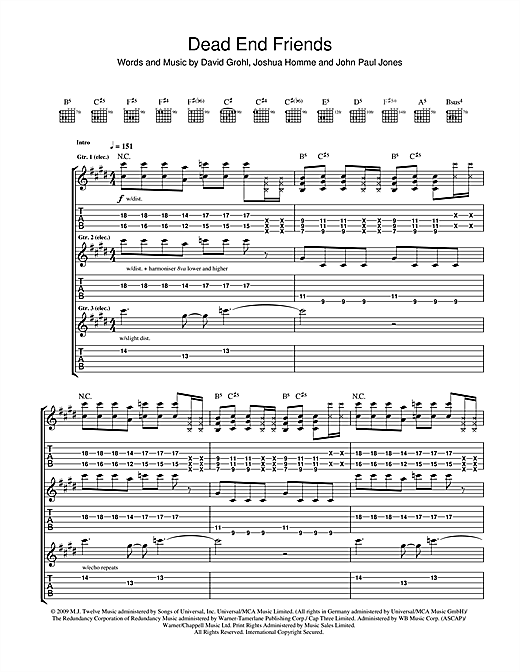 Tablature guitare Dead End Friends de Them Crooked Vultures - Tablature Guitare