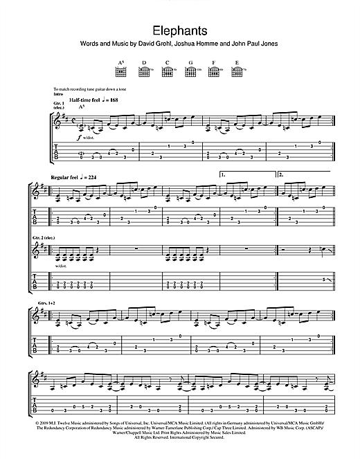 Tablature guitare Elephants de Them Crooked Vultures - Tablature Guitare