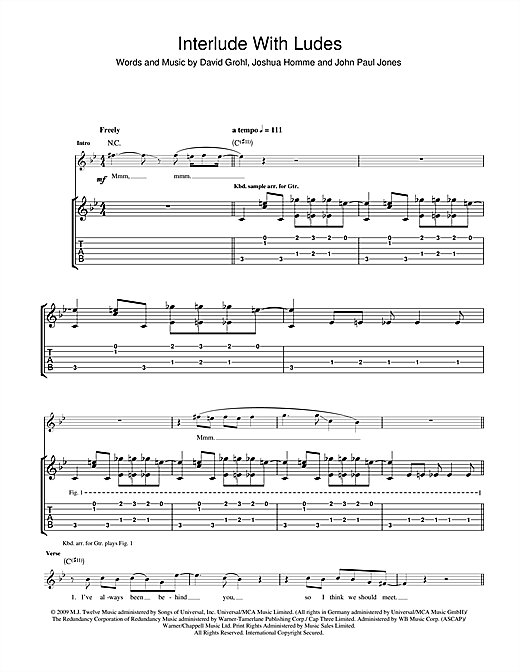 Tablature guitare Interlude With Ludes de Them Crooked Vultures - Tablature Guitare