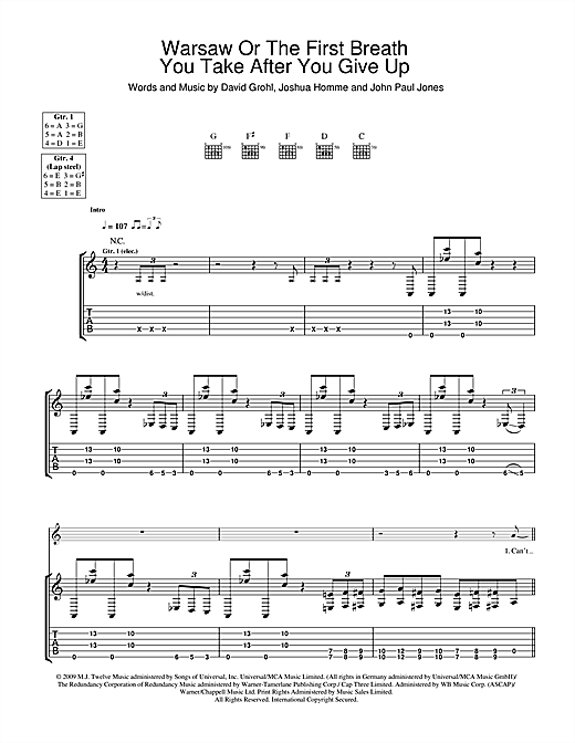 Warsaw Or The First Breath You Take After You Give Up Sheet Music