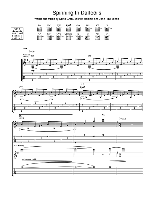 Tablature guitare Spinning In Daffodils de Them Crooked Vultures - Tablature Guitare