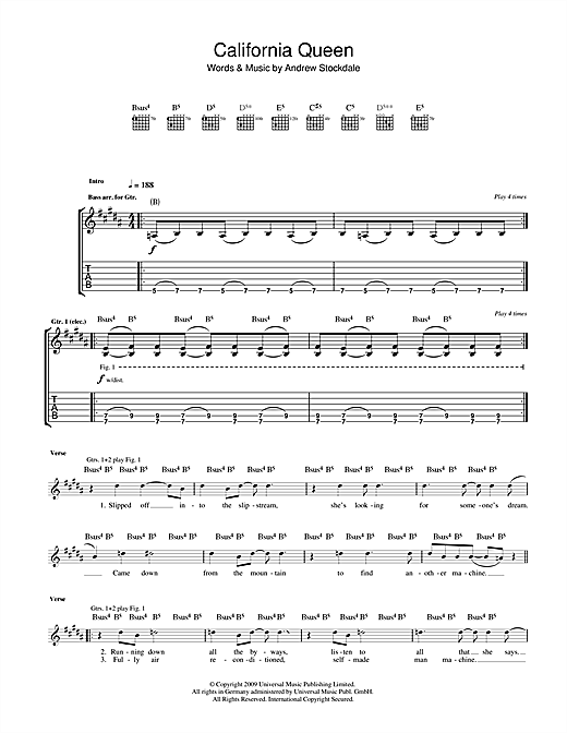 Tablature guitare California Queen de Wolfmother - Tablature Guitare