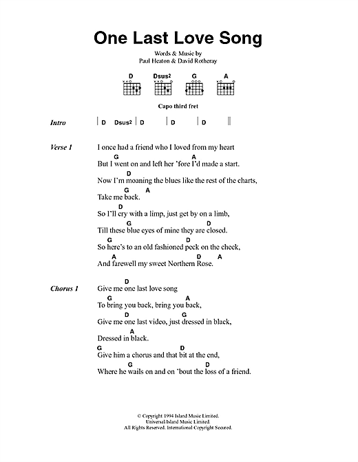 One Last Love Song Sheet Music